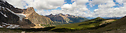 Panoramic view of Angel Glacier on the side of Mount Edith Cavell and Jasper National Park, Alberta, Canada