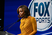 FOX Sports Network reporter Kristina Pink delivers opening remarks during the 15th LA Sports Awards, Thursday, Feb. 20 2020, in Beverly Hills, Calif. (Dylan Stewart/Image of Sport)
