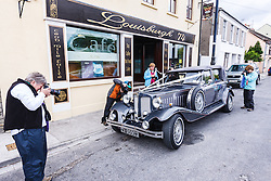 Photographers shooting Vintage Car and Cafe, Louisburgh, County Mayo, Ireland