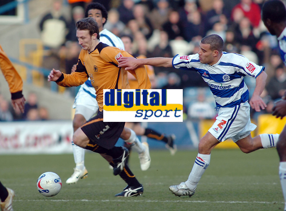 Photo: Kevin Poolman.<br />Queens Park Rangers v Wolverhampton Wanderers. Coca Cola Championship.  <br />Wolves' Lee Naylor is pulled back by Marcus Bignot.