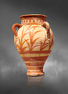 Minoan clay pot decorted with a floral design , Knossos Palace 1500-1450 BC BC, Heraklion Archaeological  Museum, grey background. .<br /> <br /> If you prefer to buy from our ALAMY PHOTO LIBRARY  Collection visit : https://www.alamy.com/portfolio/paul-williams-funkystock/minoan-art-artefacts.html . Type -   Heraklion   - into the LOWER SEARCH WITHIN GALLERY box. Refine search by adding background colour, place, museum etc<br /> <br /> Visit our MINOAN ART PHOTO COLLECTIONS for more photos to download  as wall art prints https://funkystock.photoshelter.com/gallery-collection/Ancient-Minoans-Art-Artefacts-Antiquities-Historic-Places-Pictures-Images-of/C0000ricT2SU_M9w
