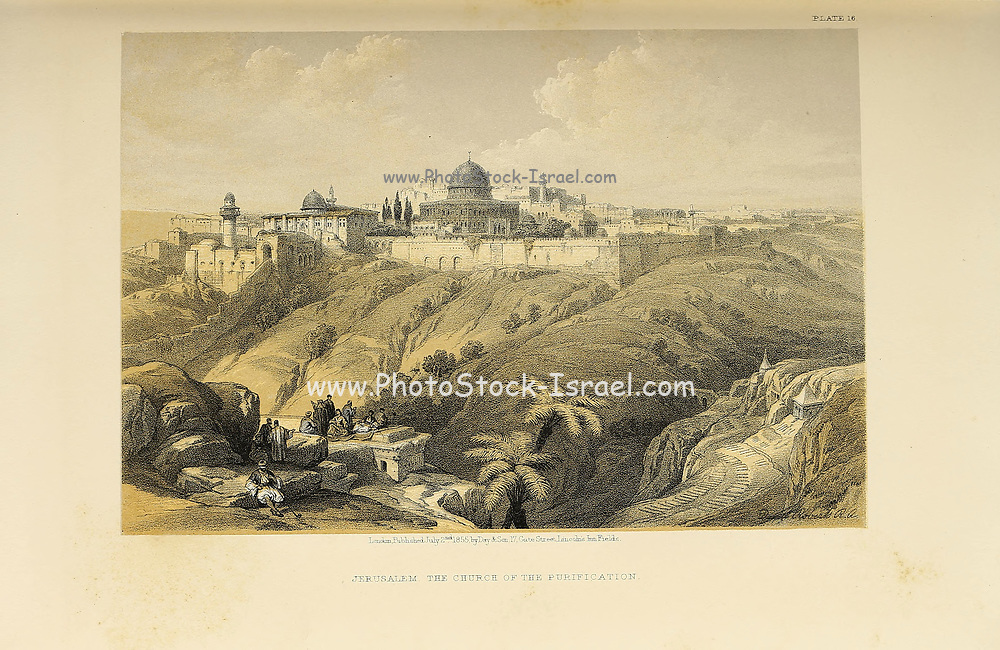 The Church of the Purification, Jerusalem from The Holy Land : Syria, Idumea, Arabia, Egypt & Nubia by Roberts, David, (1796-1864) Engraved by Louis Haghe. Volume 1. Book Published in 1855 by D. Appleton & Co., 346 & 348 Broadway in New York.
