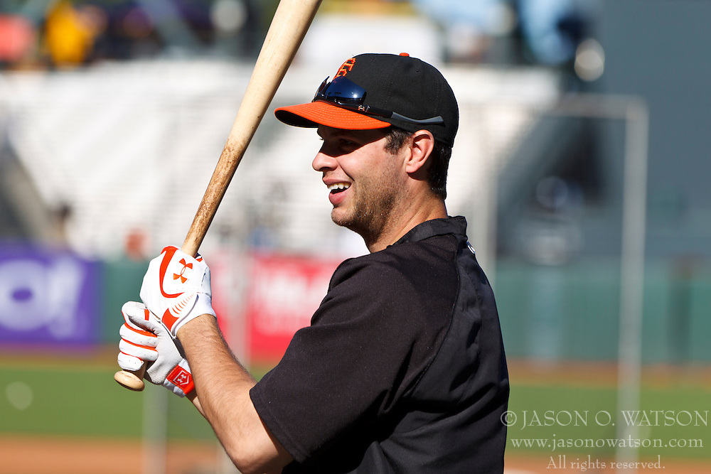 SAN FRANCISCO, CA - JUNE 08: Brandon Belt #9 of the San Francisco Giants during batting practice before an interleague game against the Texas Rangers at AT&T Park on June 8, 2012 in San Francisco, California. The Texas Rangers defeated the San Francisco Giants 5-0. (Photo by Jason O. Watson/Getty Images) *** Local Caption *** Brandon Belt