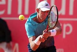 May 3, 2018 - Estoril, Portugal - KEVIN ANDERSON of South Africa returns a ball to S. Tsitsipas of Greece during the Millennium Estoril Open ATP 250 tennis tournament, at the Clube de Tenis do Estoril in Estoril. (Credit Image: © Pedro Fiuza via ZUMA Wire)
