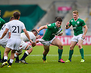 Ireland centre Shane Daly ttys to break free from a tackle during the World Rugby U20 Championship Final   match England U20 -V- Ireland U20 at The AJ Bell Stadium, Salford, Greater Manchester, England onSaturday, June 25, 2016. (Steve Flynn/Image of Sport)