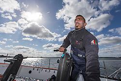Sami Al Shukaili (OMA) on Oman Sail's MOD70 Musandam during Kiel week 2014, 22-06-2014, Kiel - Germany.