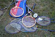 Assortment of badminton rackets and shuttlecocks. Zawady Central Poland