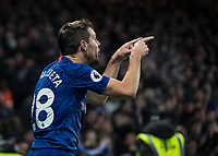 Football - 2019 / 2020 Premier League - Chelsea vs. Arsenal<br /> <br /> Cesar Azpilicueta (Chelsea FC) points towards Tammy Abraham (Chelsea FC) after his part in helping Chelsea take the lead at Stamford Bridge <br /> <br /> COLORSPORT/DANIEL BEARHAM
