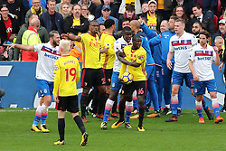 28 October 2017 - Premier League Football - Watford v Stoke City - Confusion amongst the players as a fight breaks out over possession of the ball - Photo: Charlotte Wilson / Offside