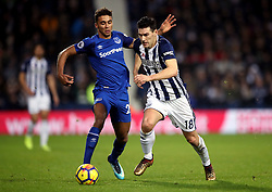 Everton's Dominic Calvert-Lewin (left) and West Bromwich Albion's Gareth Barry battle for the ball during the Premier League match at The Hawthorns, West Bromwich.