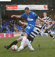 Photo: Matt Bright/Richard Lane Photography. <br />Stockport County v Darlington. Coca Cola Divison Two. 05/04/2008. Liam Dickinson (L) gets a shot in as Alan White (R) tackles