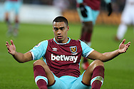 Winston Reid of West Ham United looks on. Premier league match, Swansea city v West Ham United at the Liberty Stadium in Swansea, South Wales on Boxing Day, Monday 26th December 2016.<br /> pic by  Andrew Orchard, Andrew Orchard sports photography.
