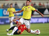 Spain's Asier Illarramendi (b) and Colombia's Edwin Cardona during international friendly match. June 7,2017.(ALTERPHOTOS/Acero)