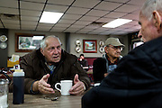 MONTICELLO, IA – JANUARY 6: LaRoy Rickeln, left, discusses over breakfast with Gerald Muller at Darrell's in Monticello, Iowa on January 6, 2017.