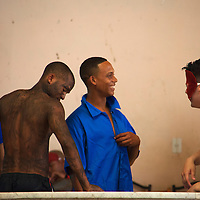 Central America, Cuba, Santa Clara. Cuban male performers backstage.