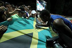 13.09.2011, Sportski Park Mladost, CRO, Athletics Meeting, IAAF World Challenge, Zagreb 2011, im Bild Usain Bolt // during Athletics Meeting, IAAF World Challenge, Zagreb 2011 at Sportski Park Mlados in Zagreb Croatia on 13/09/2011. EXPA Pictures © 2011, PhotoCredit: EXPA/ nph/ Pixsell +++++ ATTENTION - OUT OF GERMANY/(GER), CROATIA/(CRO), BELGIAN/(BEL) +++++