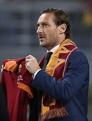 November 27, 2018 - Rome, Italy - AS Roma v FC Real Madrid : UEFA Champions League Group G.Former captain Francesco Totti moved during the ceremony after Roma entering him into the club's Hall of Fame at Olimpico Stadium in Rome, Italy on November 27, 2018. (Credit Image: © Matteo Ciambelli/NurPhoto via ZUMA Press)