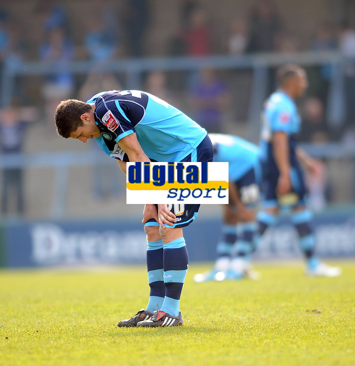Wycombe Wanderers/Swindon Town Coca Cola League 1 24.04.10<br /> Photo: Tim Parker Fotosports International<br /> John Mousinho Wycombe dejection at the end of the game