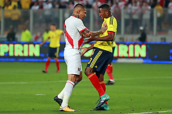LIMA, Oct. 11, 2017  Peru's Paolo Guerrero (L) and Colombia's Oscar Murillo (R) react during the Russia 2018 FIFA World Cup qualifier match, at the National Stadium of Lima, in Lima, Peru, on Oct. 10, 2017. The match ended in a draw 1-1.  ma) (da) (Credit Image: © Andina/Xinhua via ZUMA Wire)