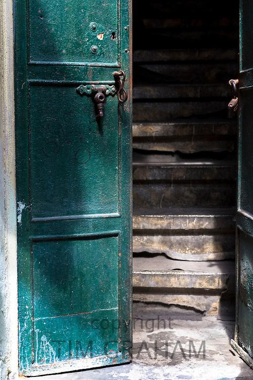 Traditional wooden doorway in The Grand Bazaar, Kapalicarsi, great market in Beyazi, Istanbul, Turkey