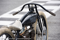 Matt Harris' 40 Cal 1923 Harley-Davidson Model-J racer at Billy Lane's Sons of Speed vintage motorcycle racing during Biketoberfest. Daytona Beach, FL, USA. Saturday October 21, 2017. Photography ©2017 Michael Lichter.
