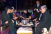 RONNIE WOOD; ANA ARAUJO;; ROBERTO CAVALLI, Dinner and party  to celebrate the launch of the new Cavalli Store at the Battersea Power station. London. 17 September 2011. <br /> <br />  , -DO NOT ARCHIVE-© Copyright Photograph by Dafydd Jones. 248 Clapham Rd. London SW9 0PZ. Tel 0207 820 0771. www.dafjones.com.
