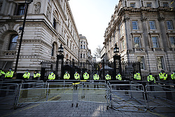 © Licensed to London News Pictures. 24/04/2021. London, UK. Police lined up outside Downing Street as activists gather for a protest against Covid-19 restrictions. The Metropolitan Police have said they are aware of plans for a large-scale protest and have increased officer numbers accordingly. Photo credit: Rob Pinney/LNP