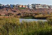 The Ballona Wetlands is a protected area near Marina Del Rey and Playa Del Rey, and is one of the last significant wetlands area in the Los Angeles basin. Development and the  concreting over of the Ballona Creek in the 1930's for flood control purposes, reduced the 2100 acre wetlands to its present size of about 700 acres. Los Angeles, California, USA