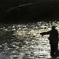 Fly fisherman casting as sun sets.