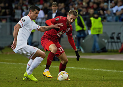 KAZAN, RUSSIA - Thursday, November 5, 2015: Liverpool's Dejan Lovren in action against Rubin Kazan's Marko Dević during the UEFA Europa League Group Stage Group B match at the Kazan Arena. (Pic by Oleg Nikishin/Propaganda)