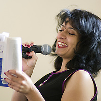 Shappi Khorsandi<br /> On stage at the Stoke Newington Literary Festival. 6 June 2010<br /> <br /> Picture by David X Green/Writer Pictures