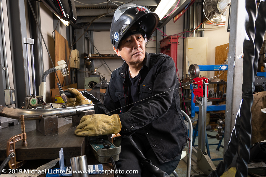 Ken Kenji Nagai of Ken's Factory working in his shop in Nagoya photographed during a stop on our Japan tour. Wednesday, December 5, 2018. Photography ©2018 Michael Lichter.