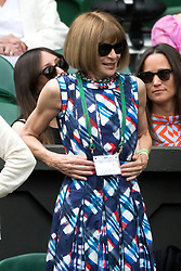 © Licensed to London News Pictures. 04/07/2016. ANNA WINTOUR watches tennis on the centre court on the seventh day of the WIMBLEDON Lawn Tennis Championships. London, UK. Photo credit: Ray Tang/LNP