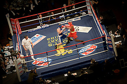 © Licensed to London News Pictures. London, UK  07/10/2011. Members of the UK and US Armed Forces take part in the Royal Albert Hall cup boxing match. This is the first time a boxing event has taken place in the historic venue following a court ruling banning the use of the hall for boxing and wrestling in 1999. The Court of Appeal subsequently overturned the decision earlier this year. The venue has hosted some of the greatest names in British boxing including Sir Henry Cooper, Frank Bruno, Lennox Lewis and Prince Naseem Hamed. Photo credit: Ben Cawthra/LNP