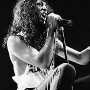 PHILADELPHIA - JUNE 29: Joey Belladonna of Anthrax performs at The Spectrum on June 29, 1991 in Philadelphia, Pennsylvania. ©Lisa Lake