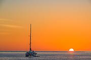 Orion catamaran sailboat, sunrise, April 2015, Sea of Cortez, Baja Mexico