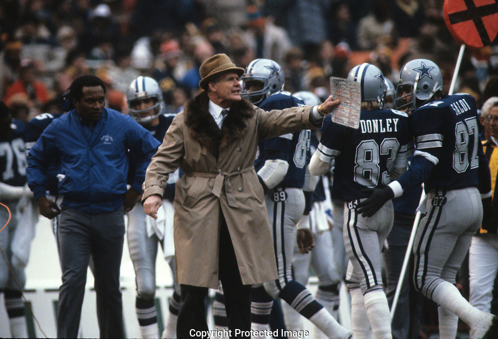 Dallas Cowboys coach Tom Landry at the playoff game between the Washington Redskins and the Dallas Cowboys in February 1983...Photograph by Dennis Brack b23