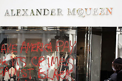 Protestors swarm Beverly Hills and Looters ransack Alexander McQueen as Beverly Hills Riot Police push forward. 31 May 2020 Pictured: Alexander McQueen Looted Aftermath. Photo credit: KAT / MEGA TheMegaAgency.com +1 888 505 6342