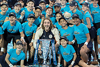 Tennis - 2019 Nitto ATP Finals at The O2 - Day Eight<br /> <br /> Singles Final : Stefanos Tsitsipas (Greece) Vs. Dominic Thiem (Austria)<br /> <br /> Stefanos Tsitsipas (Greece) poses with the team of ball boys and girls<br /> <br /> COLORSPORT/DANIEL BEARHAM