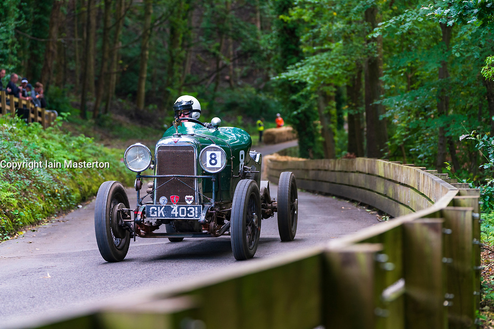 Boness Revival hillclimb motorsport event in Boness, Scotland, UK. The 2019 Bo'ness Revival Classic and Hillclimb, Scotland's first purpose-built motorsport venue, it marked 60 years since double Formula 1 World Champion Jim Clark competed here.  It took place Saturday 31 August and Sunday 1 September 2019. 8. William Irving. Alvis 18598