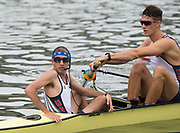 "Rio de Janeiro. BRAZIL.  USA M8+. right to left  Austin HACK, and Cox Samuel OJSERKIS,   2016 Olympic Rowing Regatta. Lagoa Stadium,<br /> Copacabana,  ""Olympic Summer Games""<br /> Rodrigo de Freitas Lagoon, Lagoa.   Monday 8th August<br /> 2016 <br /> <br /> [Mandatory Credit; Peter SPURRIER/Intersport Images]"