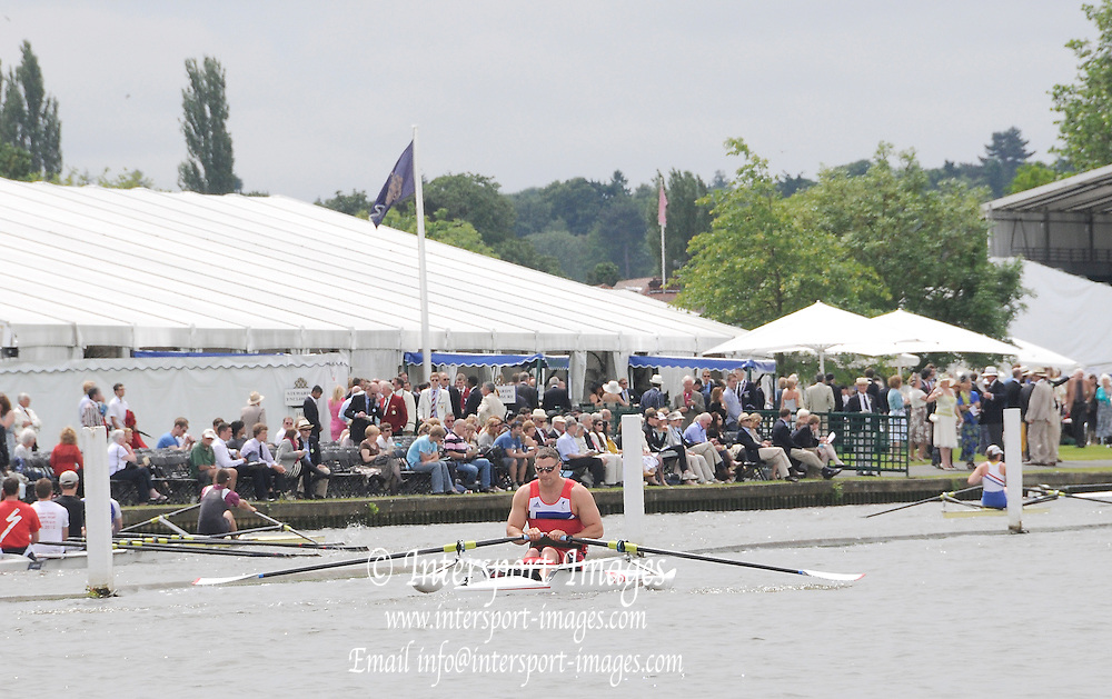 Henley, Great Britain.  Henley Royal Regatta. Paralympic GB Team Announcement. ASM1X, Tom AGGAR, rows towards Stewards Enclosure, River Thames Henley Reach.  Royal Regatta. River Thames Henley Reach.  Wednesday  27/06/2012  [Mandatory Credit  Karon Phillips/ Intersport Images] . HRR.