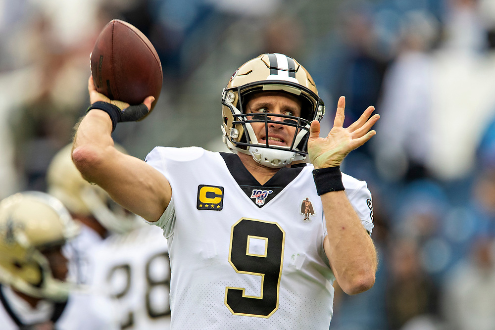 NASHVILLE, TN - DECEMBER 22:  Drew Brees #9 of the New Orleans Saints jogs onto the field before a game against the Tennessee Titans at Nissan Stadium on December 22, 2019 in Nashville, Tennessee.   (Photo by Wesley Hitt/Getty Images) *** Local Caption *** Drew Brees