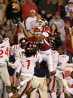 FAYETTEVILLE, AR - OCTOBER 25:   Greg Childs #85 of the Arkansas Razorbacks goes up to catch a pass against the Ole Miss Rebels at Donald W. Reynolds Stadium on October 25, 2008 in Fayetteville, Arkansas.  The Rebels defeated the Razorbacks 23 to 21.  (Photo by Wesley Hitt/Getty Images) *** Local Caption *** Greg ChildsUniversity of Arkansas Razorback Men's and Women's athletes action photos during the 2008-2009 season in Fayetteville, Arkansas....©Wesley Hitt.All Rights Reserved.501-258-0920.