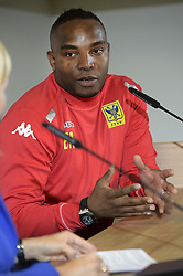 Sept. 8, 2015 - Sint-Truiden, BELGIUM - 20150908 - SINT-TRUIDEN, BELGIUM: STVV's new assistant coach Benni McCarthy pictured during a press conference of Belgian first division soccer team Sint-Truiden VV to present its new head coach, Tuesday 08 September 2015 in Sint-Truiden. STVV's Northern Irish assistant coach O'Loughlin is promoted to the function of head coach, after Ferrera left for Standard. BELGA PHOTO YORICK JANSENS (Credit Image: © Yorick Jansens/Belga via ZUMA Press)