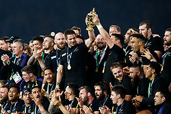 New Zealand Flanker Richie McCaw (capt) lifts the Webb Ellis Cup with Fly-Half Daniel Carter after New Zealand win the match 34-17 to become 2015 World Cup Champions - Mandatory byline: Rogan Thomson/JMP - 07966 386802 - 31/10/2015 - RUGBY UNION - Twickenham Stadium - London, England - New Zealand v Australia - Rugby World Cup 2015 FINAL.