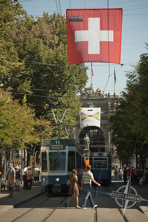 Street scenes in Zurich Switzerland near the Main Train Station.