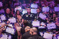 Michael Smith prepares for his walk on during the World Darts Championship at Alexandra Palace, London, United Kingdom on 1st January 2016. Photo by Shane Healey.