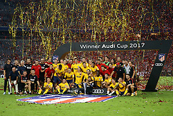 August 2, 2017 - Munich, Germany - Atletico de Madrid celebrating the victory with the trophy during the Audi Cup 2017 match between Liverpool FC and Atletico Madrid at Allianz Arena on August 2, 2017 in Munich, Germany. (Credit Image: © Matteo Ciambelli/NurPhoto via ZUMA Press)