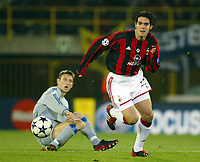 Fotball<br /> UEFA Champions League <br /> 04.11.2003<br /> Brugge v Milan<br /> Kaku<br /> Timmy Simons<br /> Photo: Anders Hoven, Digitalsport